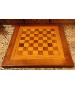 "Vintage 1960's Custom Built Yellow & Red Oak Wood 9 LB Chess Board 17"" x... - $48.51"