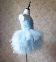 A-Line/Princess Knee-length Flower Girl Dres Blue Tulle/Lace Flowers Puffy 4-16 image 2