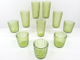 10 Anchor Hocking Tahiti Avocado Green Bamboo Tumbler Juice Glass Vintag... - $77.88