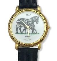 Vintage Pearl Quartz Zebra Wrist Watch Black White Mare Foal Black Leath... - $19.79
