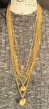 Vince Camuto Rope Necklace Multi Layered Metallic Gold Tone Chains And C... - $64.35