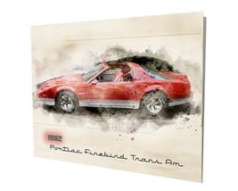 1982 Pontiac Firebird Trans Am Red Muscle Car Design 16x20 Aluminum Wall Art - $59.35