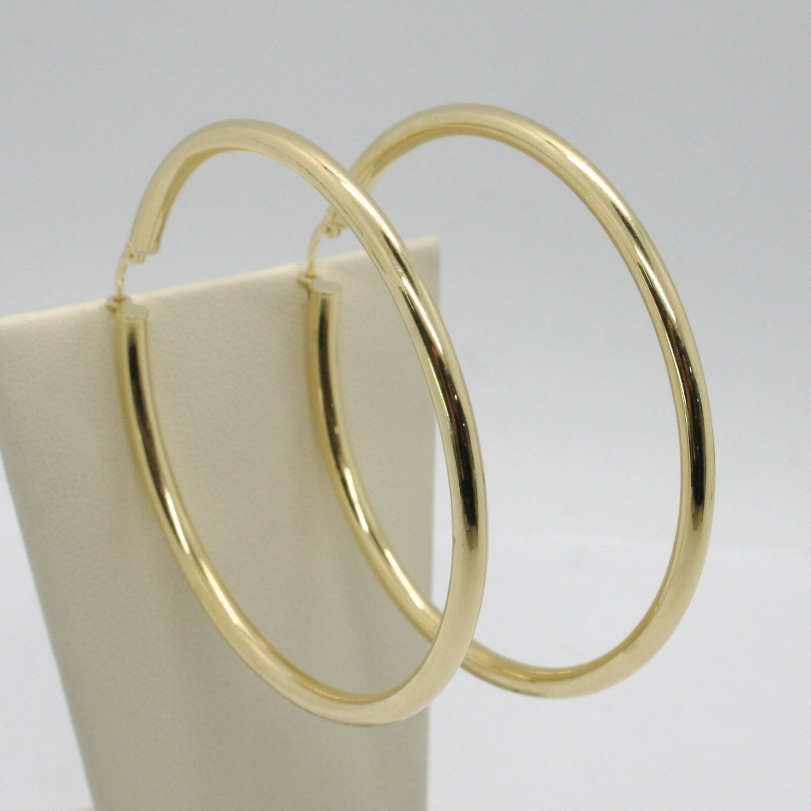 18K YELLOW GOLD ROUND CIRCLE EARRINGS DIAMETER 50 MM, WIDTH 3 MM, MADE IN ITALY