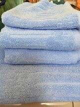 DKNY 5PC SKY BLUE TOWEL SET 1 BATH/2HAND/2WASH URBAN SCULPTURED NWT BEAU... - $43.54
