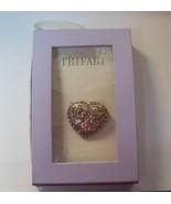 Trifari Multi-Color Rhinestones Heart & 2 Doves Brooch/Pin - $18.01