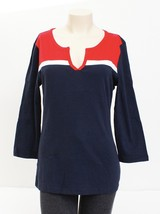 Tommy Hilfiger Red White & Blue 3/4 Sleeve Shirt Top Women's Large L NWT - $37.12