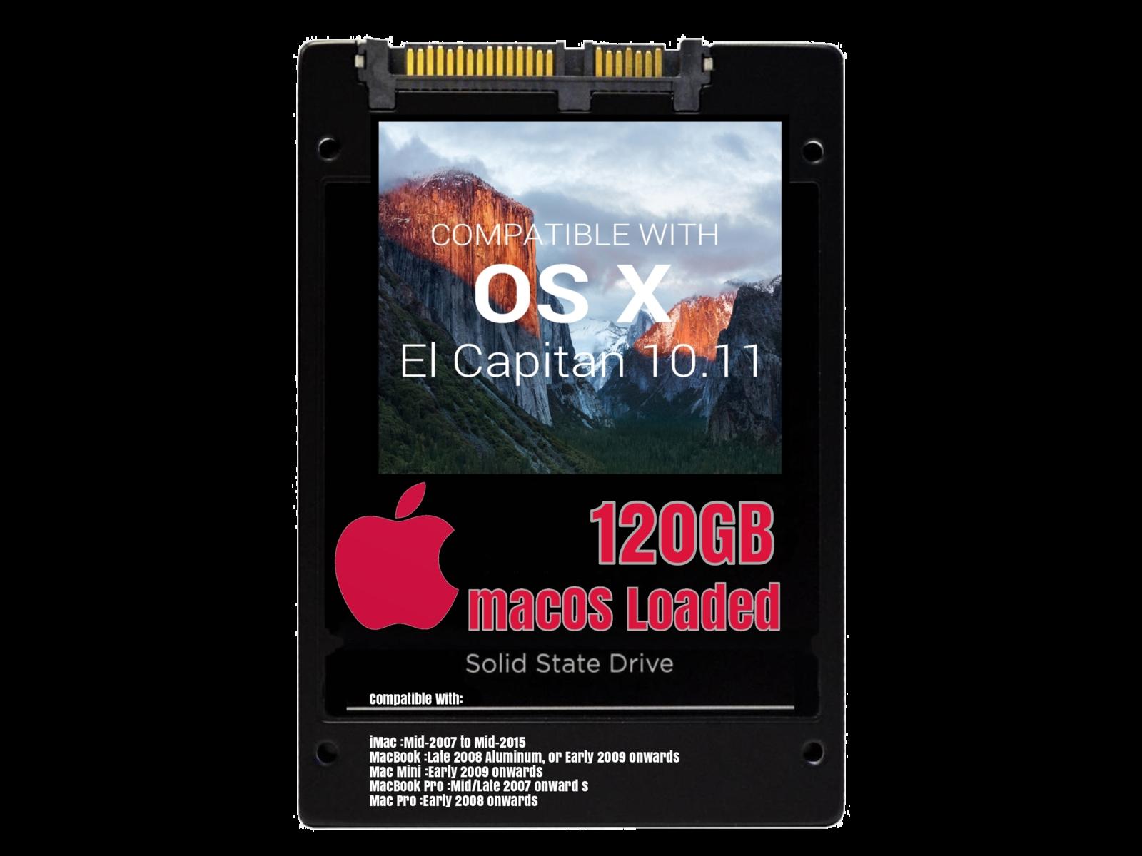 macOS Mac OS X 10.11 El Capitan Preloaded on 120GB Solid State Drive - $39.99