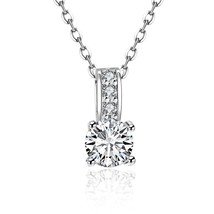 New Fashion Silver Plated Crystal The Only Love Necklace Pendant - $9.79