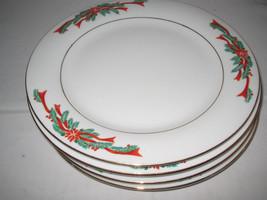 "Tienshan Poinsettia and Ribbon Salad Plates x 4 Excellent  7+"" D - $8.75"