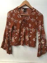 Forever 21 Burnt Orange Festival Long Bell Sleeve Crop Top Womens size S... - $14.95