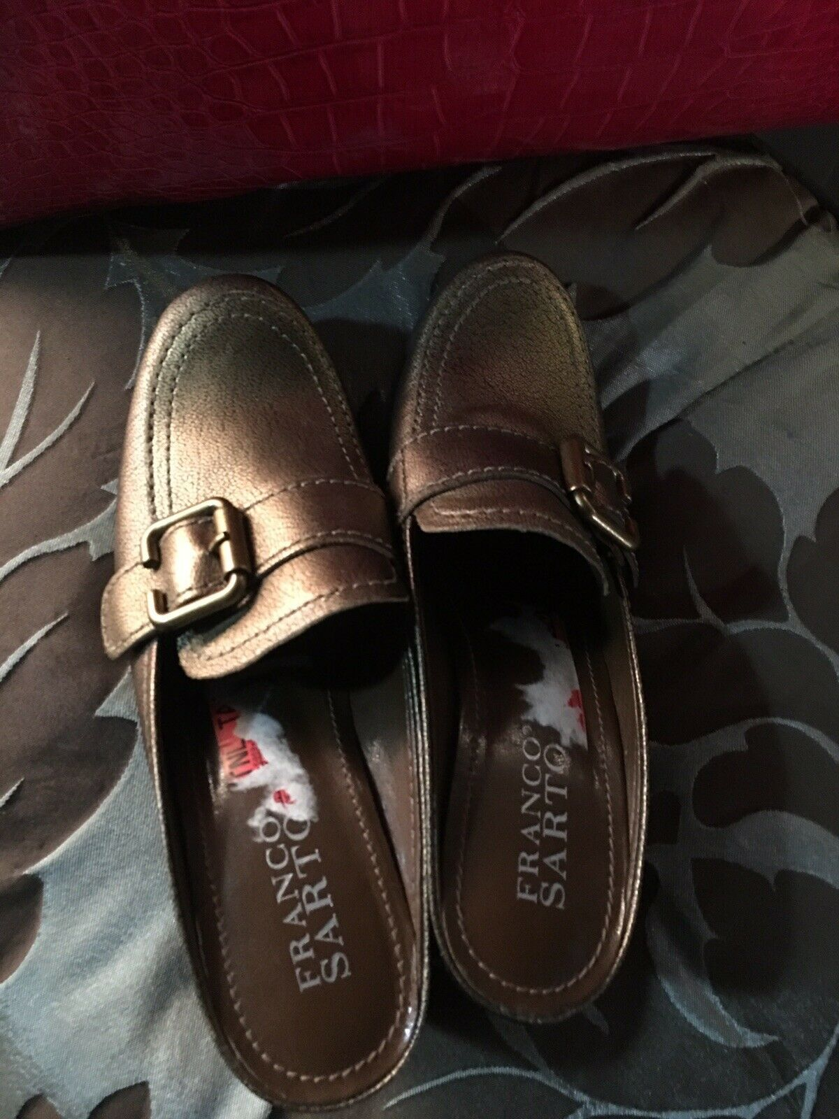 WOMENS FRANCO SARTO BROWN LEATHER SLIDES MULES SHOES - SIZE 5