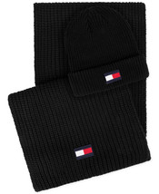 NEW MENS TOMMY HILFIGER LOGO BLACK HAT & SCARF SET ONE SIZE - $27.71