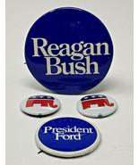 Reagan Bush Pinback Lot/4 GOP Elephant Vintage Pin Button President Ford... - $12.30