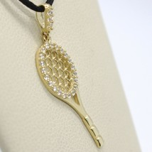 18K YELLOW GOLD TENNIS RACKET ZIRCONIA PENDANT CHARM, 25 mm 1 inches, ITALY MADE image 2