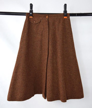 Vtg 70s JOHN MEYER Rusty Burnt Orange Wool Felt Swingy A Line Skirt Wais... - $32.66
