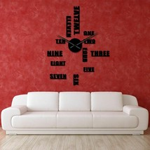 Outsized Modern 3D Stickers Wall Clock DIY English Words Frameless Giant... - $35.93+