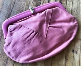 Vintage Leather Clutch Pink Clutch Purse Reticule Handbag 1980s Frame Ba... - $29.16