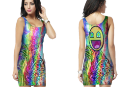DMT Smiley psychedelic Bodycon Dress - $25.99+