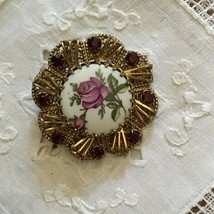Vintage Rhinestone & Porcelain Rose Cameo Filigree Brooch Pin - $44.00