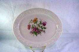 "Homer Laughlin Floral TH6 M47N5 11 1/8"" Oval Platter - $11.08"