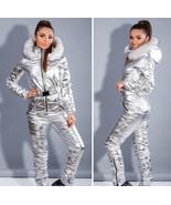 Man Woman Ski Snow Suit Nylon Metallic Silver Gold Waterproof Overall Pl... - $249.00