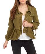Free People Willow Cotton Denim Jacket Moss Mult Sz - $97.49