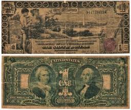 1896 $1 Lg Size U S Currency Silver Certificate EDUCATIONAL FR#225 CIRCU... - $420.75