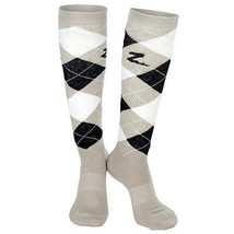 8.5-9.5 HORZE HOLLY ARGYLE FABRIC COTTON LADIES PAIR KNEE SOCKS STRING B... - $11.95