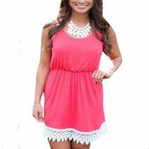 Sleeveless Lace Cotton Women Summer Mini Dress - $15.96