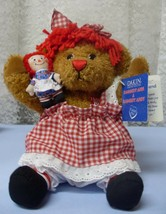"71/2"" Sitting RAGGEDY CURLY BRONZE BEAR WITH 3"" RAGGEDY ANN DOLL MIP  - $14.85"