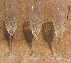 Lenox USA Cut Crystal Champagne Flute Glasses Cut Foot Faceted Stem Diam... - $32.66