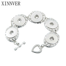 Xinnver Snap Jewelry 18mm Snap Button Bracelet&Bangles Vintage Silver 5 ... - $8.49