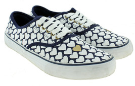 An item in the Fashion category: Joe Boxer Womens Blue White Hearts Canvas Classic Sneakers Size 10