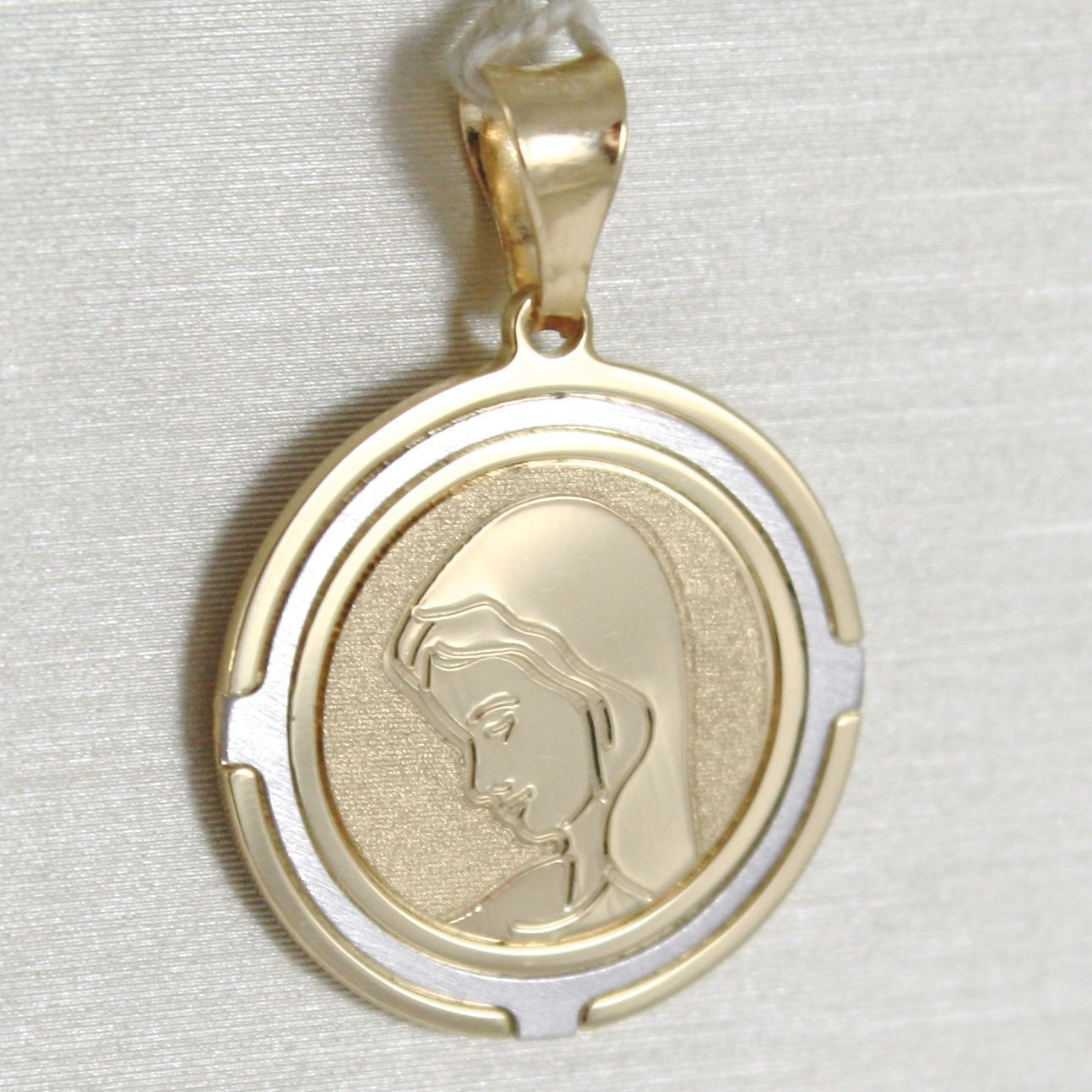 18K WHITE AND YELLOW GOLD MEDAL ROUND STYLIZED WITH  VIRGIN MARY  MADE IN ITALY