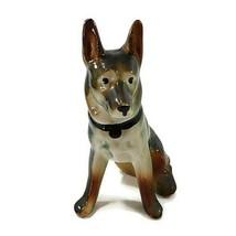 "Vintage German Shepherd Dog Figurine Sitting Hand Painted Porcelain 6.75"" - $21.50"