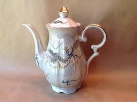 Coffee Pot Teapot Pitcher Pearl Lusterware Dragon Dragonware Gray Teal B... - $51.43