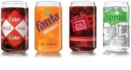 Coca Cola Retro Can Tumbler S 16 Ounce Oz Set 4 ASSTD Glasses ARC Intl L... - $29.69