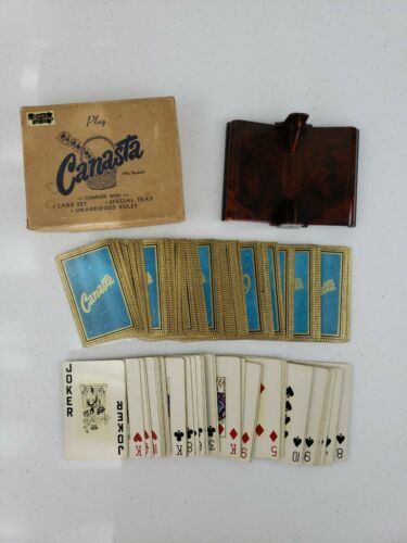 Primary image for Vintage Canasta 2 Decks Playing Cards w Plastic Red Brown Marbled Dual Tray &Box