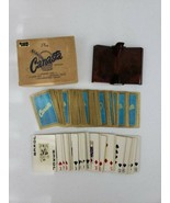 Vintage Canasta 2 Decks Playing Cards w Plastic Red Brown Marbled Dual T... - $19.99