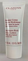 Clarins Paris Moisture Rich Body Lotion W/ Shea Butter 30 ml / .9 oz. Tr... - $10.88