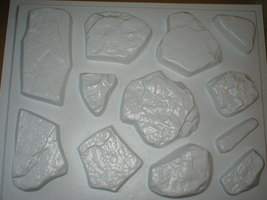 #OAF-03 Fieldstone Concrete Molds (12) Makes 100s of Garden Patio or Wall Stones image 1