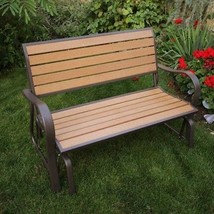 Garden Wooden Glider Bench Outdoor Patio Porch Loveseat Swing Chair For ... - $274.41