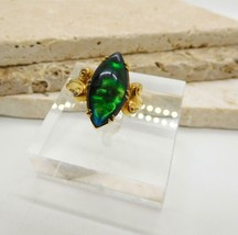 Vintage Clark & Coombs Green Abalone Marquise Gold Plated Ring Size 7.5 K9 - $14.84