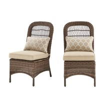 Beacon Park Brown Wicker Outdoor Armless Dining Chair with Toffee Cushio... - $295.00