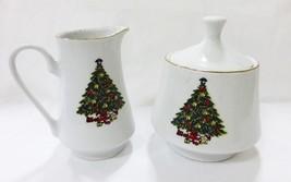 Vintage Weihnachtsbaum Porzellan Sahnekännchen Zuckerdose Set Küche Ware - $15.84