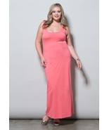 SWAK Mara Maxi Coral Dress Gold Size 3X NWT 22 24 Plus Size - $43.99