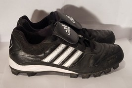 Adidas AdiTuff Traxion Black Baseball Soft Cleats Shoes Youth Size 11 - $21.46