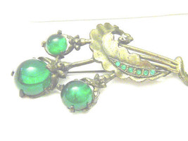 Vintage Retro Green cabochons And Rhinestones Lovely Pin Brooch - $15.29