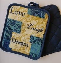 INSPIRATIONS KITCHEN SET 7-pc Towels Potholders Mitt Love Laugh Dream Blue Beige image 7