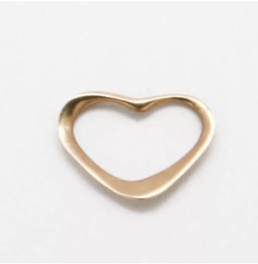14K Yellow Gold Miniature Open Heart Pendant 0.2g